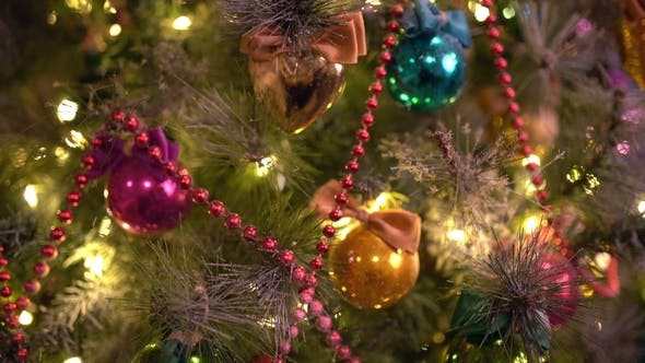 Thumbnail for A Christmas Tree Decorated with Christmas Tree Toys and Shining Lights, . Christmas Tree Gold Bokeh