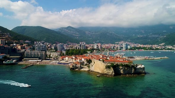 Thumbnail for Aerial Beautiful Panoramic View at Old Town in Budva