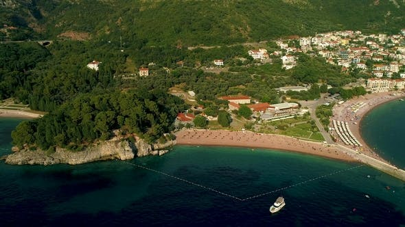 Thumbnail for Aerial View of the Beach Near the Island of St. Stefan