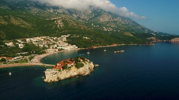 Thumbnail for Aerial Beautiful Panoramic View at Sveti Stefan Island in Budva, Montenegro