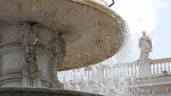 Thumbnail for Old Fountain, Statue of Monk. . Architecture and Landmark of Vatican. Water Drops Splashing and