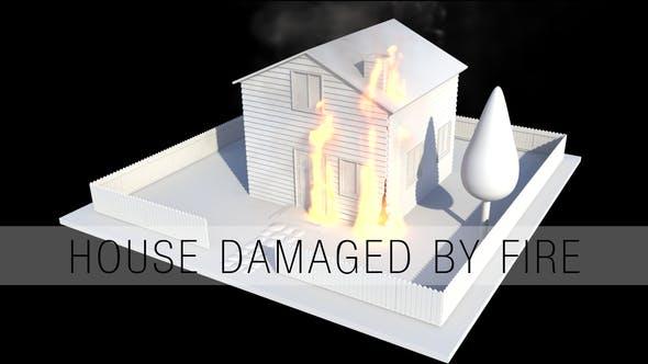 Haus beschädigt durch Feuer