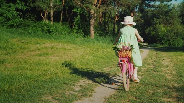 Cover Image for A Girl in a Green Summer Dress Is Riding Along a Path in the Forest