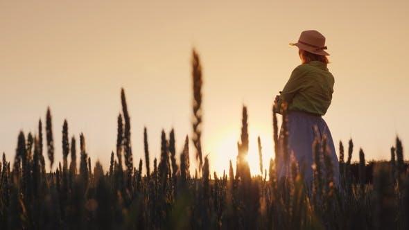 Thumbnail for A Woman Farmer Admires the Endless Field of Green Wheat. Organic Farming Concept