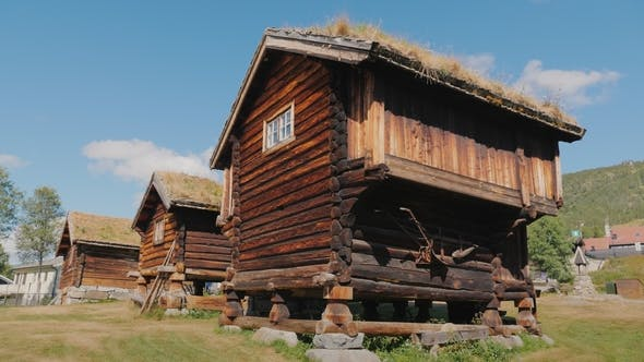 Thumbnail for Several Ancient Traditional Norwegian Houses. Steadicam Shot