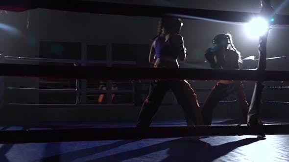 Thumbnail for Sparring in the Ring Between Two Girls