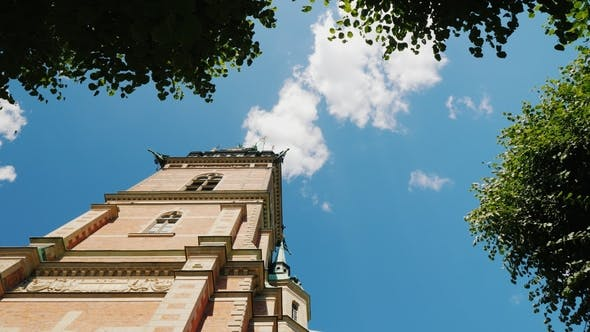 Cover Image for Low Angle Wide Shot of the German Church in the Center of Stockholm. On His Project Is the Famous