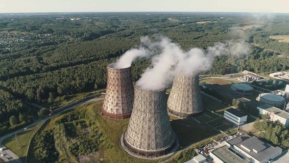 Thumbnail for Aerial View on the Working Power Station. Cooling Tower of Nuclear Power Plant. Coal-burning Power