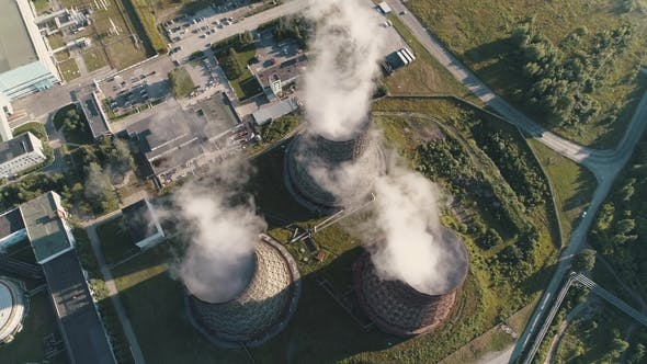 Thumbnail for Aerial View on the Working Power Station Cooling Tower of Nuclear Power Plant Coal-burning Power