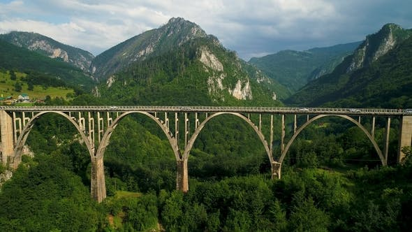 Thumbnail for Aerial View of Durdevica Tara Arc Bridge in the Mountains, One of the Highest Automobile Bridges