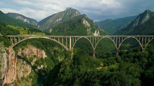 Aerial View of Durdevica Tara Arc Bridge in the Mountains