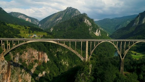 Thumbnail for Aerial View of Durdevica Tara Arc Bridge in the Mountains