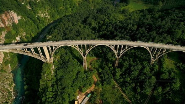 Thumbnail for Aerial View of Durdevica Tara Arc Bridge in the Mountains, One of the Highest Automobile Bridges in