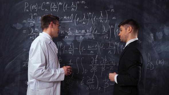 Thumbnail for Two Scientists Writing, Discussing and Analyzing Math Equations on a Chalk Desk Board