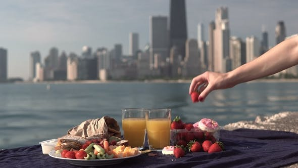 Thumbnail for View of Food Fruits and Juice on Shore of Michigan Lake in Chicago America