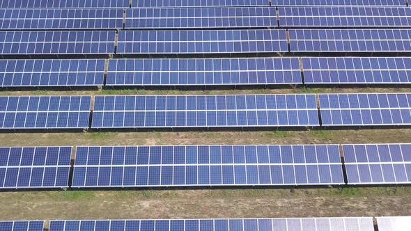 Thumbnail for Aerial View of Solar Panels Farm Solar Cell with Sunlight