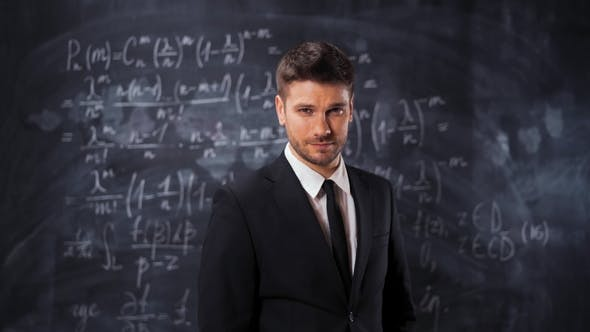 Thumbnail for Portrait of Scientist Man Standing Near Mathematical Equations, Formula