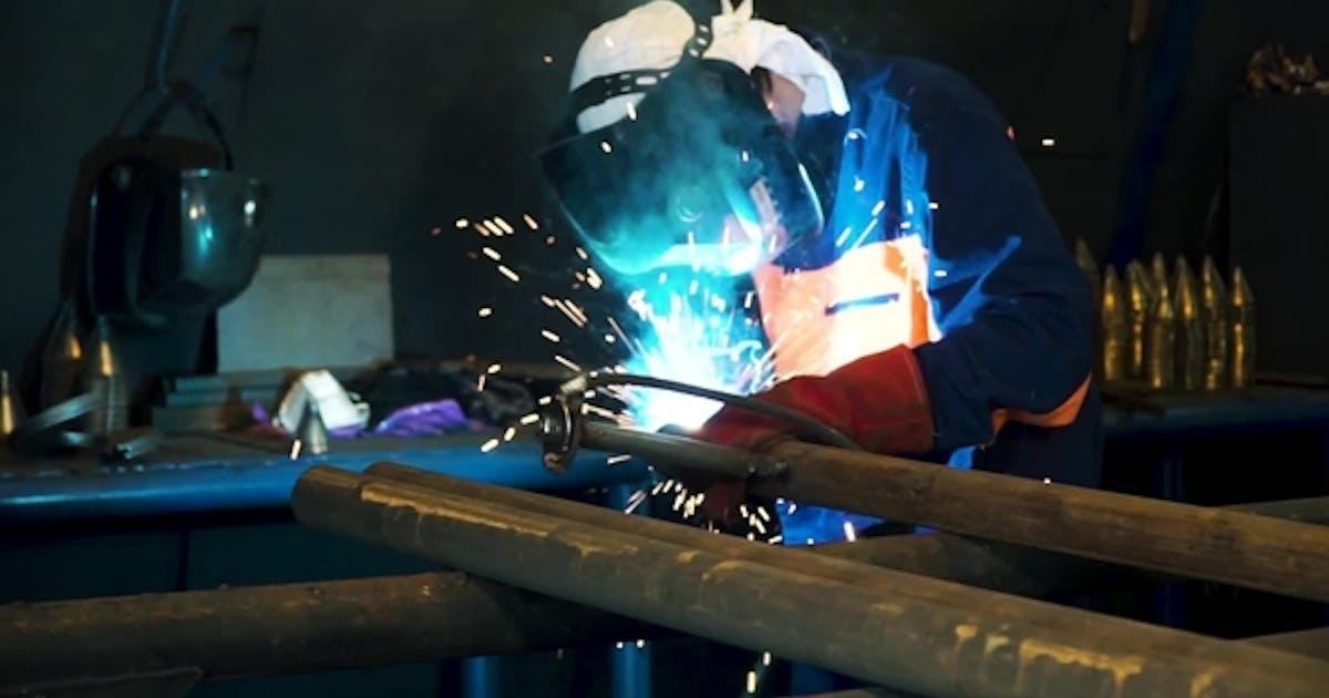 Worker Welding Construction By MIG Welding. Clip. Worker Welding the Steel Part By Manual
