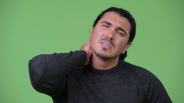 Stressed Man Having Neck Pain