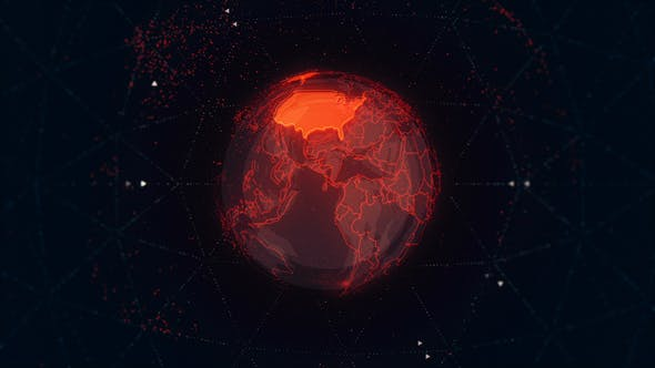 Thumbnail for USA Maps on the Rotating Red Earth 4K
