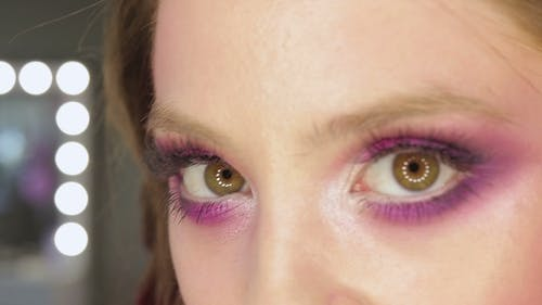 Charming Young Woman with Pink Make-up