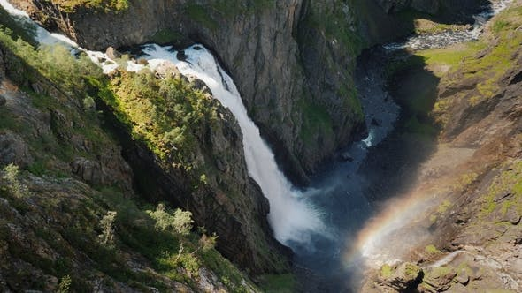 Thumbnail for The Famous Waterfall Voringsfossen in Norway. Impressive Beauty of Scandinavian Nature