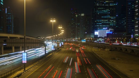 Dubai Night Highway