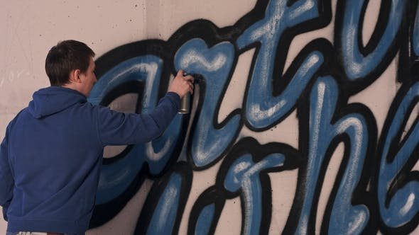 Thumbnail for Graffiti Artist Painting with Aerosol Spray on the Wall