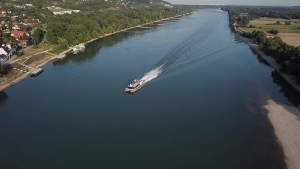 Aerial of Speed Boat on Danube