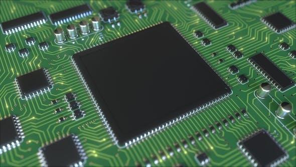 Электрические сигналы на зеленой печатной плате или печатной плате