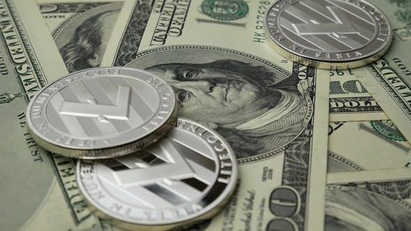 Thumbnail for Litecoin LTC Münzen rotieren auf Scheine von 100 Dollar