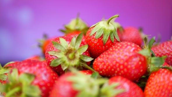 Thumbnail for Fresh Strawberries in a Bowl at Purple or Violet Background
