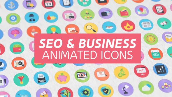 100 Seo & Business Modern Flat Animated Icons by MbrEffects