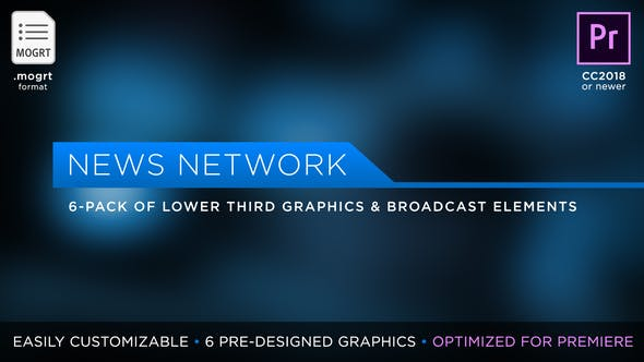 Thumbnail for News Network Pack | MOGRT for Premiere Pro