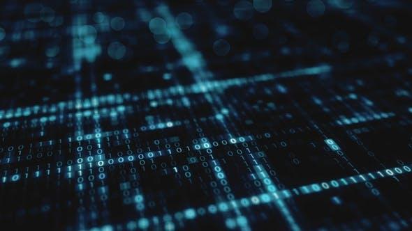 Thumbnail for Abstrakter blauer futuristischer Hintergrund der Informationstechnologie binärer digitaler DatenCode Seamless Loop