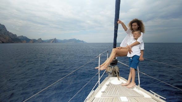 Thumbnail for Freedom of the Ocean for Healthy Family on Outdoor Summer Vacation Sailing on Luxury Yacht