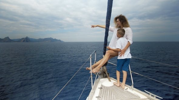 Thumbnail for Outdoor Summer Vacation Sailing on Luxury Yacht. Mother