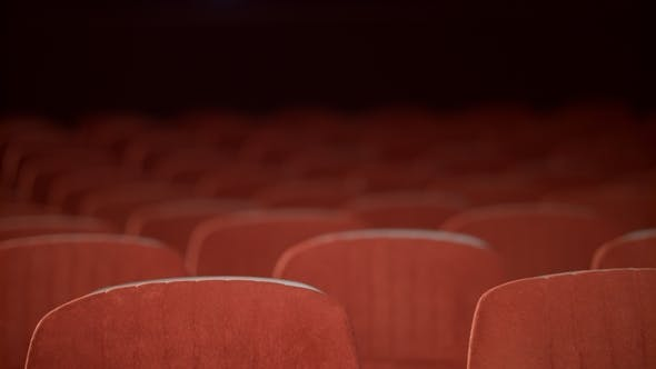 Thumbnail for Empty Cinema Chair Before Premiere. Rows of Empty Seats in Movie Theatre