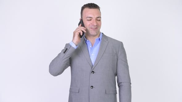 Thumbnail for Happy Businessman Talking On The Phone