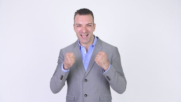 Thumbnail for Successful Businessman With Arms Raised Smiling