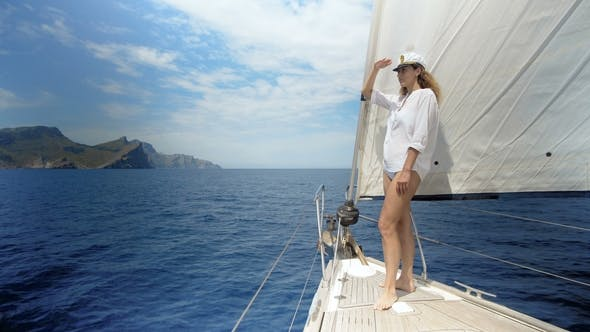 Thumbnail for Woman on Sailboat on Luxury Summer Lifestyle Happy Adventure Travel Vacation