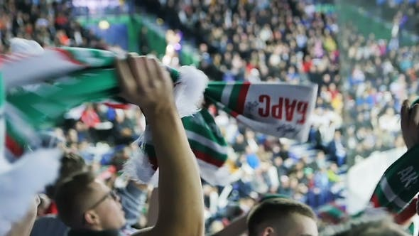 Thumbnail for Emotional Hockey Fans Turn Around Team Logo Scarf Over Heads at Game