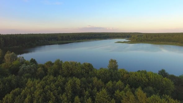 Thumbnail for Aerial View on the Russian Lake in the Forest
