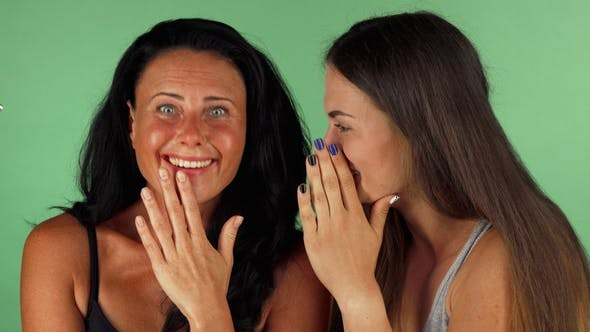 Thumbnail for Female Friends Gossiping on Green Chromakey Background