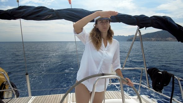 Thumbnail for Young Female Skipper Enjoying on the Yacht
