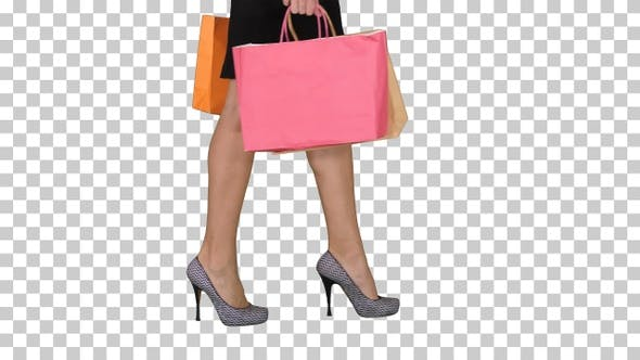 Walking Legs of Shopping Lady with Shopping Bag, Alpha Channel