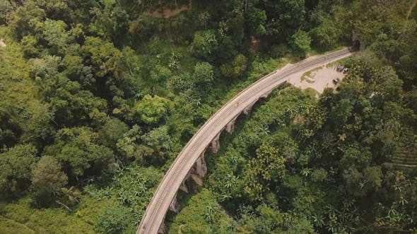 Thumbnail for Aerial Panoramic Top View, Drone Turning Left Over Nine Arch Bridge Ella in Sri Lanka Among Exotic
