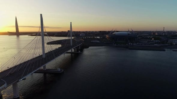 Thumbnail for Beautiful View of Bridge and City at Sunset on Summer Evening
