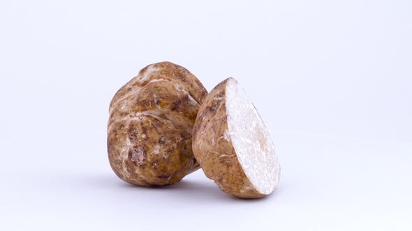 Cover Image for Two Large White Truffle Mushroom Halves Rotating on the Turntable Isolated on the White Background