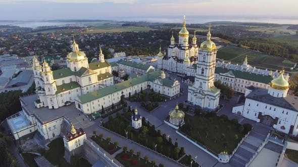 Thumbnail for Aerial View of Holy Dormition Pochayiv Lavra, an Orthodox Monastery in Ternopil Oblast of Ukraine